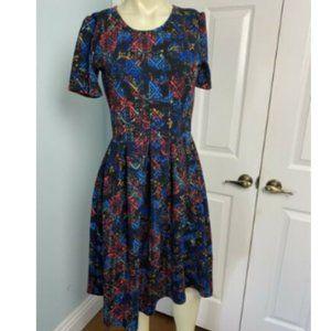 LuLaRoe Amelia Dress S Multicolor Geometric Design
